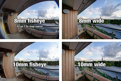 Comparison of fisheye lenses with wide angle lenses at equal focal lengths.
