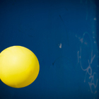 Yellow Balloon on Blue Door