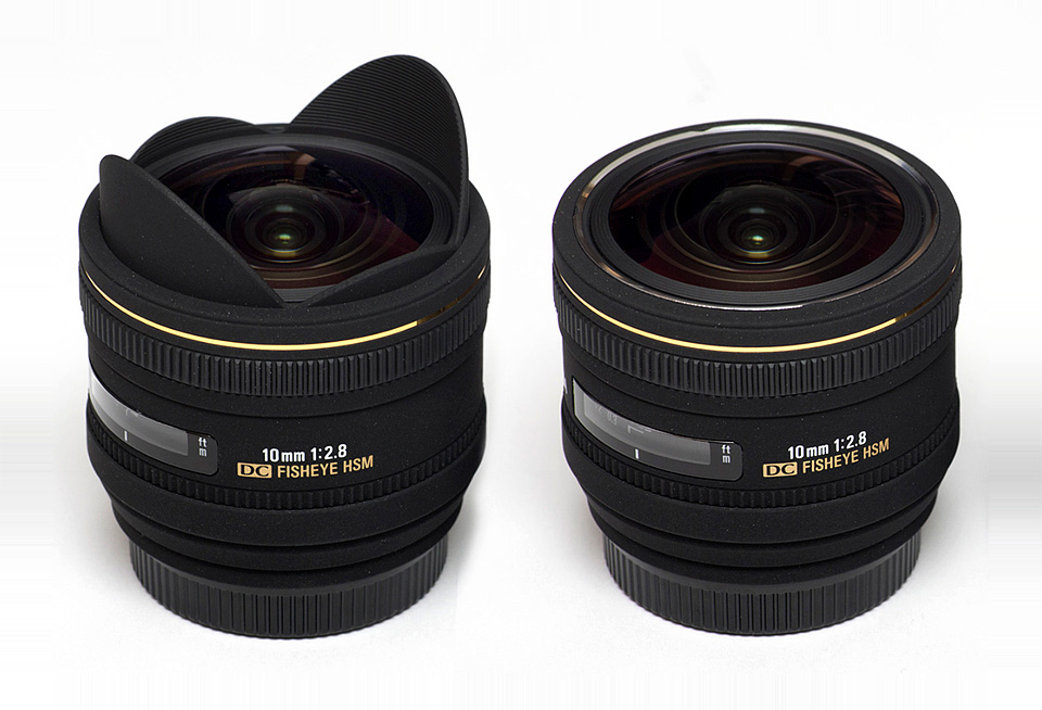 Sigma 10mm Fisheye — before and after shaving of the fixed lens hood