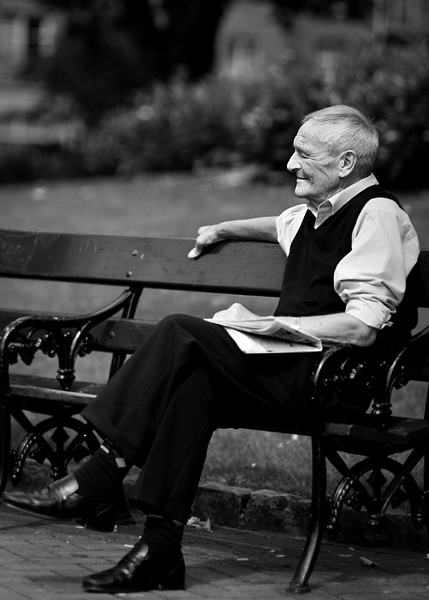 Old gentleman in St. Patrick's Park, Dublin, Ireland, 2008