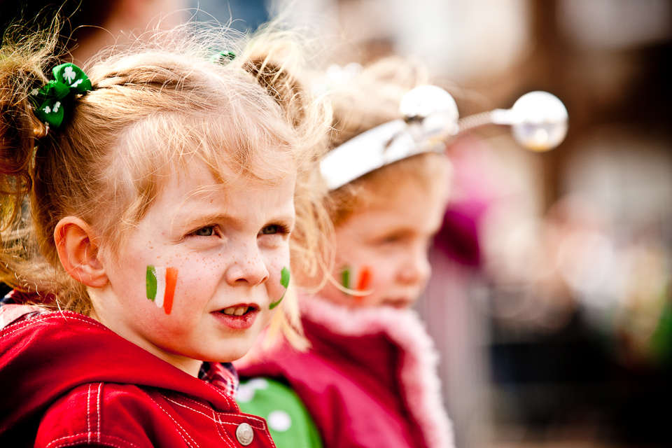 Little girl watching the St. Patrick's Day Parade, Maynooth, 2009